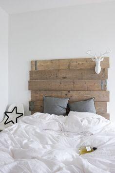 Tête de lit bois recyclé