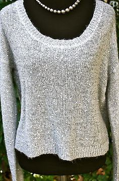 FOREVER-21-Sequined-Gray-Lightweight-Long-Sleeve-Sweater-Women-Large