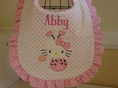 Personalized  Hello Kitty baby bib by grandmasbabyboutique on Etsy, $8.75