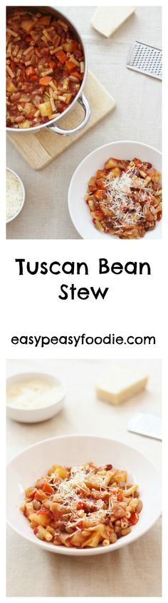 A delicious mixture of beans, pasta and root vegetables, this Tuscan Bean Stew is inspired by my student travels and perfect for an easy midweek supper. A great way to celebrate Vegetarian Bake, Vegetarian Dinners, Vegetarian Recipes, Vegan Meals, Vegetable Recipes, Vegan Food, Yummy Pasta Recipes, Great Recipes, Favorite Recipes