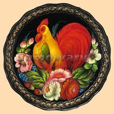 Tray Zhostovo Village (large circle) - Samovar (495) 21-21-393, samovars Shop №1 Rooster Art, Rooster Decor, Painted Trays, Hand Painted, Decoupage, Russian Folk Art, Chicken Art, Galo, Arte Popular
