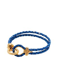 Blue Leather With Gold Lock | Nialaya Jewelry