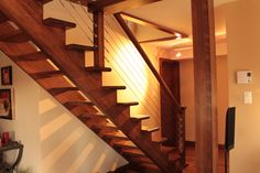 Open stair with stainless wires escalier ouvert avec fils d'acier inoxydable Stairs, House, Ideas, Home Decor, Open Staircase, Sons, Stainless Steel, Home Ideas, Stairway