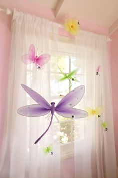 """Hanging Butterfly 5"""" Small Nylon Butterflies with Sequins and Glitter for Baby Nursery Bedroom, Girls Room Ceiling Wall Décor, Wedding Birthday Party, Baby Bridal Shower Butterfly Decoration"""