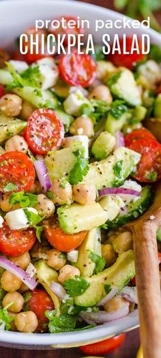 Chickpea Salad is so fresh, healthy and protein packed! Did you know garbanzo beans were the same thing as chickpeas? Any way you shake it, this is one feel good garbanzo bean salad!! It keeps you feeling full and satisfied for hours. #garbanzobeansalad #garbanzobeans #chickpeasalad #chickpearecipes #healthyrecipes #saladrecipes #easysalad #easylunchideas #lunch #sidedish #natashaskitchen