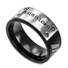 JESUS IS LORD Ring, Romans 10:9 Bible Verse, Thick Stainless Steel for Men