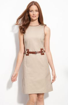 Leather Trim Shift Dress...easy for summer. I have the shift dress, now I just need to find the belt.