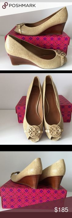 "TORY BURCH MINI MILLER OPEN TOE WEDGE, SIZE 11 TORY BURCH MINI MILLER OPEN TOE WEDGE, SIZE 11, COLOR TAN TRENCH, WEDGE HEIGHT 2.75"", BRAND NEW WITH BOX AND DUST BAG Tory Burch Shoes Wedges"