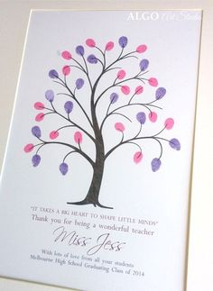Gifts for Teachers, End of Year Gift, Teacher Gift, Teacher Appreciation, Teacher Gifts, Fingerprint Tree, Teacher Retirement, DIGITAL