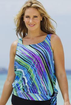 141fc0d934 Beach Belle Mystic Stripe Blouson Tankini Top Plus Size Swimwear