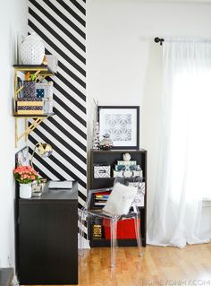 Homey Oh My accent wall with  3M General Purpose Vinyl Tape 764 Black, 2 in x 36 yd 5.0 mil $8. on Amazon