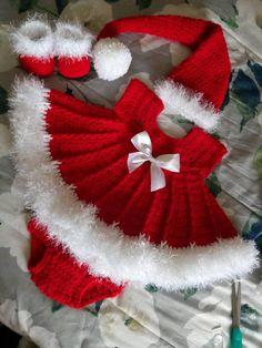Crochet Baby Girl Christmas crochet baby dress set with dress hat booties and - Baby Girl Crochet, Crochet Baby Clothes, Crochet Baby Hats, Baby Knitting, Booties Crochet, Free Knitting, Girl Dress Patterns, Baby Patterns, Pattern Dress