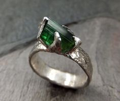 Wow!  Love the setting!  Raw Rough Uncut Green Tourmaline Men's Recycled by byAngeline, $265.00