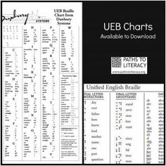 UEB (Unified English Braille) charts are available for free download.