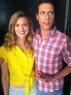 Brooke D'Orsay and Paolo Costanzo on set
