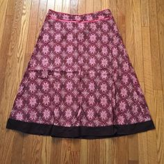 Brown & Pink Full Skirt Good, used condition. Side zip & closure. Lined with brown cotton. Pretty motif. Pink satin ribbon detail at waist. Fits high on waist & comes to knee. A line/full skirt. My clothes are laundered & hung to dry. Linden Hill Skirts A-Line or Full