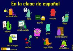 Spanish words: en la clase de español. Great Spanish vocabulary and use of tú commands. #Spanish class #Teaching Spanishhttps://www.facebook.com/photo.php?fbid=451621928250033&set=a.148263798585849.38987.131633236915572&type=1&ref=nf
