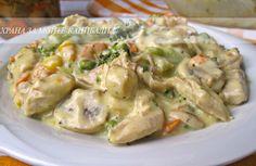 Храна за мойте канибали: Пилешки хапки с гъби,  зеленчуци и  сметанов сос