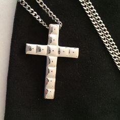 """NWOT Stainless Steel cross Approximately 20"""" chain with sterling cross.  Unisex.  Large cross so could easily be worn by a male or female. Jewelry Necklaces"""