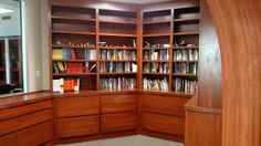 Custom Library Cabinets with counter, and adjustable shelves