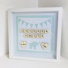 Baby Box Frame Birth Stats Frame Frames Baby Name Shadow Box Frame Personal Baby Gift Boy Nursery ideas Elephant Box Frame Scrabble My ideas for crafts Marco Scrabble, Scrabble Frame, Scrabble Art, Scrabble Tiles, Diy Baby Gifts, Personalized Baby Gifts, Baby Crafts, Diy Shadow Box, Shadow Box Frames