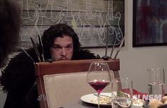 Jon Snow (aka Kit Harington) was invited to a dinner party by Seth Meyers, and let& just say it didn& go that well — watch the funny spoof here Kit Harrington, Winter Is Here, Winter Is Coming, Ygritte And Jon Snow, Jon Schnee, Game Of Thrones 3, My Sun And Stars, Fandoms, Valar Morghulis