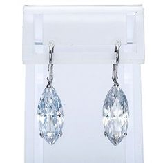 Sterling Silver Marquise-cut Cubic Zirconia Dangle Earrings available at joyfulcrown.com
