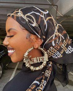 Pretty Black Girls, Beautiful Black Women, Beautiful People, Black Women Fashion, Girl Fashion, Piercings, Black Girl Aesthetic, Black Girls Hairstyles, Scarf Hairstyles