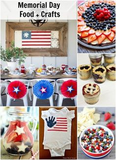 Memorial day food and crafts. An awesome roundup of red,white, and blue food and crafts perfect for a Memorial Day party or 4th of July on dreambookdesign.com