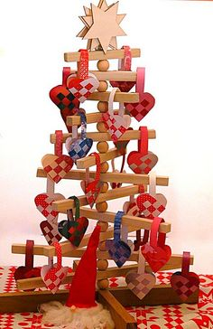 Advent Calendar Tree With Danish Woven Paper Hearts