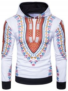 0d4e36fbe84 Florals Print Ethnic Style Pullover Hoodie - RED 2XL African Print Clothing,  Ethnic Style,