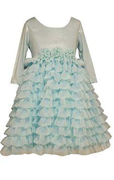 d7bb08f7a9e Amazon.com  Little Girls Blue 3 4 Sleeve Shimmer Knit to Sparkle Tier Dress