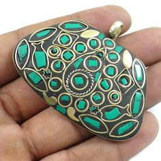 Goldtone Green Mosaic Tiles Jewelry India Fashion Pendant For Women Jewellery