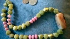Matching with bracelet sized strands listed before, afghan hexagon cut vintage to old greenish jade beads, Pink faceted vintage rhodochrosite, Big agate old bead. $53