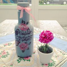 Decoupage plastic bottle