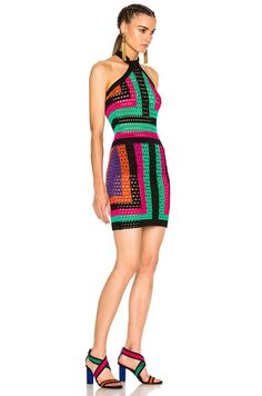 BALMAIN Crochet Halter Mini in Multi | FWRD