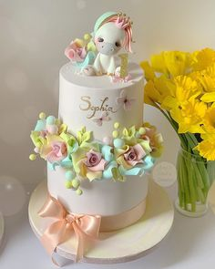Girls First Birthday Cake, Number Birthday Cakes, Cute Birthday Cakes, Unicorn Themed Cake, Daisy Cakes, Baby Girl Cakes, Cake Decorating Videos, Crazy Cakes, Cake Pictures