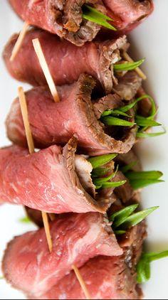 Beef Tenderloin Wraps with Green Onions and Hoisin Sauce