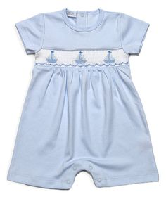 Look what I found on #zulily! Blue Sailboat Smocked Pima Romper - Infant & Toddler #zulilyfinds
