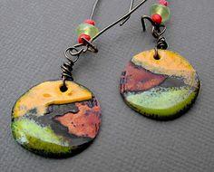 Summer Fields Torch Fired Enamel Earrings by Vintajia Adornments, via Flickr