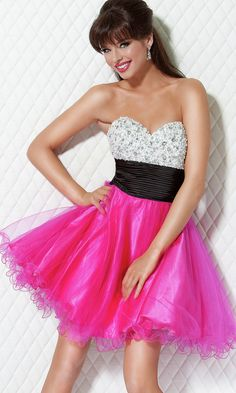 hot pink- short, strapless