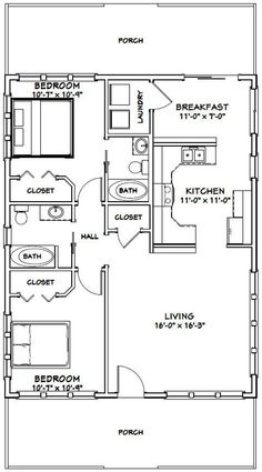 PDF house plans, garage plans, & shed plans. Duplex Floor Plans, Small House Floor Plans, Cabin Floor Plans, Small House Plans Under 1000 Sq Ft, The Plan, How To Plan, 2 Bedroom House Plans, Two Bedroom Tiny House, Casas Containers