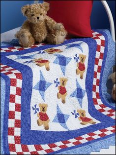 Free Baby Quilt Patterns & Designs for Kids - Pieced pinwheel blocks complement the pinwheel teddys that dance across this darling baby quilt. Size: x Skill Level: Intermediate - Small Quilt Projects, Quilting Projects, Quilting Designs, Quilting Patterns, Quilting Ideas, Owl Quilts, Baby Boy Quilts, Free Baby Quilt Patterns, Layer Cake Quilts