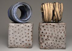 #ceramic #art - Twisted Lines on Cubes by Judit Varga