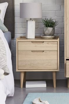 Buy Oslo 2 Drawer Bedside Table from the Next UK online shop Design Furniture, Home Furniture, Stockholm, Wooden Bedside Table, Cool Bedside Tables, Wood Nightstand, Wood Dresser, Wood Headboard, Bedroom Night