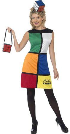 Disfarce de Rubik's Cube™ para mulher: Este disfarce deRubik's Cube™ para mulher é composto de um vestido, uma mala e uma bandelete (sapatos e collants não incluidos).Este vestido possui grandes...