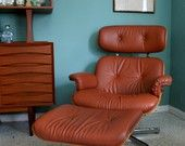 Vintage Eames inspired Brown Leather Lounge Chair