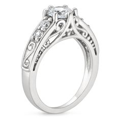 Platinum Art Deco Filigree Diamond Ring with Contoured Delicate Antique Scroll Ring (1/3 ct. tw.), top view