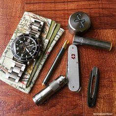 EDC in Titanium: Muyshondt, TacticalKeychains, Shinola watch, CuCreations, Victorinox knife, Pocketweez, (HanksbyHank / PSDProducts)