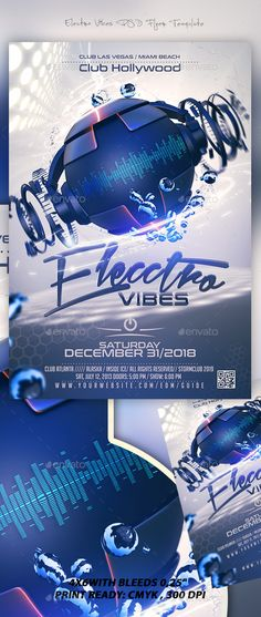 Electro Vibes Flyer Template — Photoshop PSD #electronic #summer vibes • Download ➝ https://graphicriver.net/item/electro-vibes-flyer-template/19263977?ref=pxcr